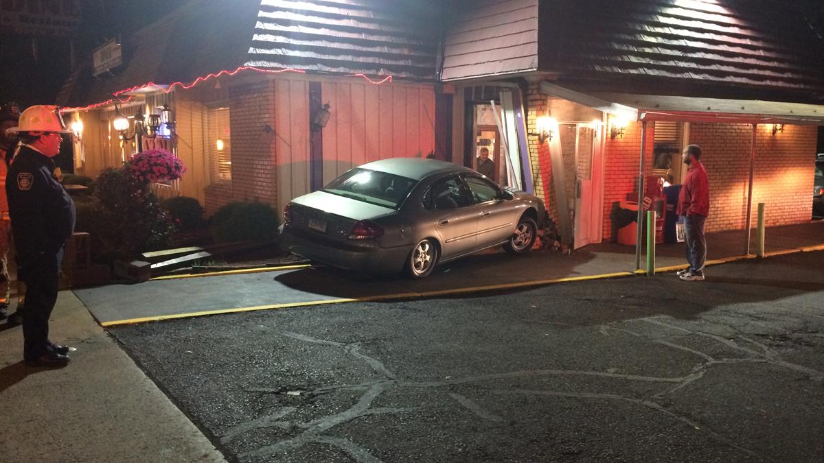 A car struck the New Britain Diner on Corbin Avenue in New Britain Saturday night.