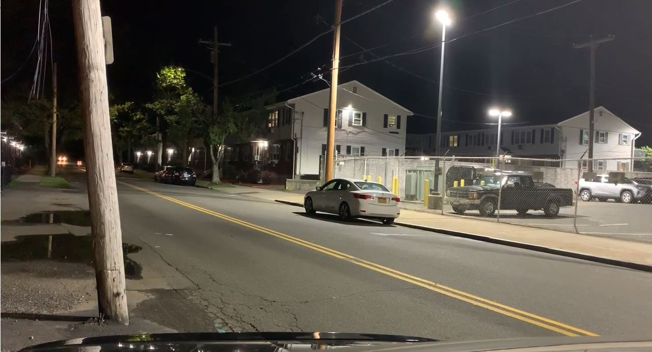 A photo of the intersection of Foxon Boulevard (Route 80) and Quinnipiac Avenue in New Haven, where a school bus carrying 16 students was hit by a car Monday morning.