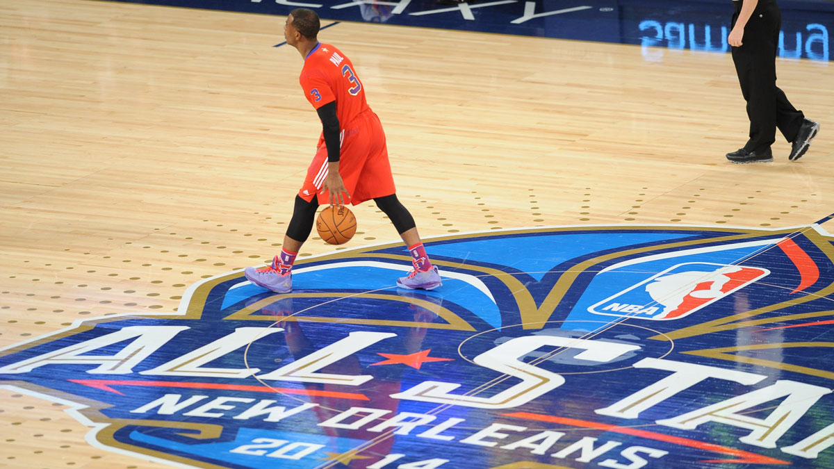 Chris Paul #3 of the Western Conference handles the ball against the Eastern Conference during the 2014 NBA All-Star Game at Smoothie King Center on February 16, 2014 in New Orleans.