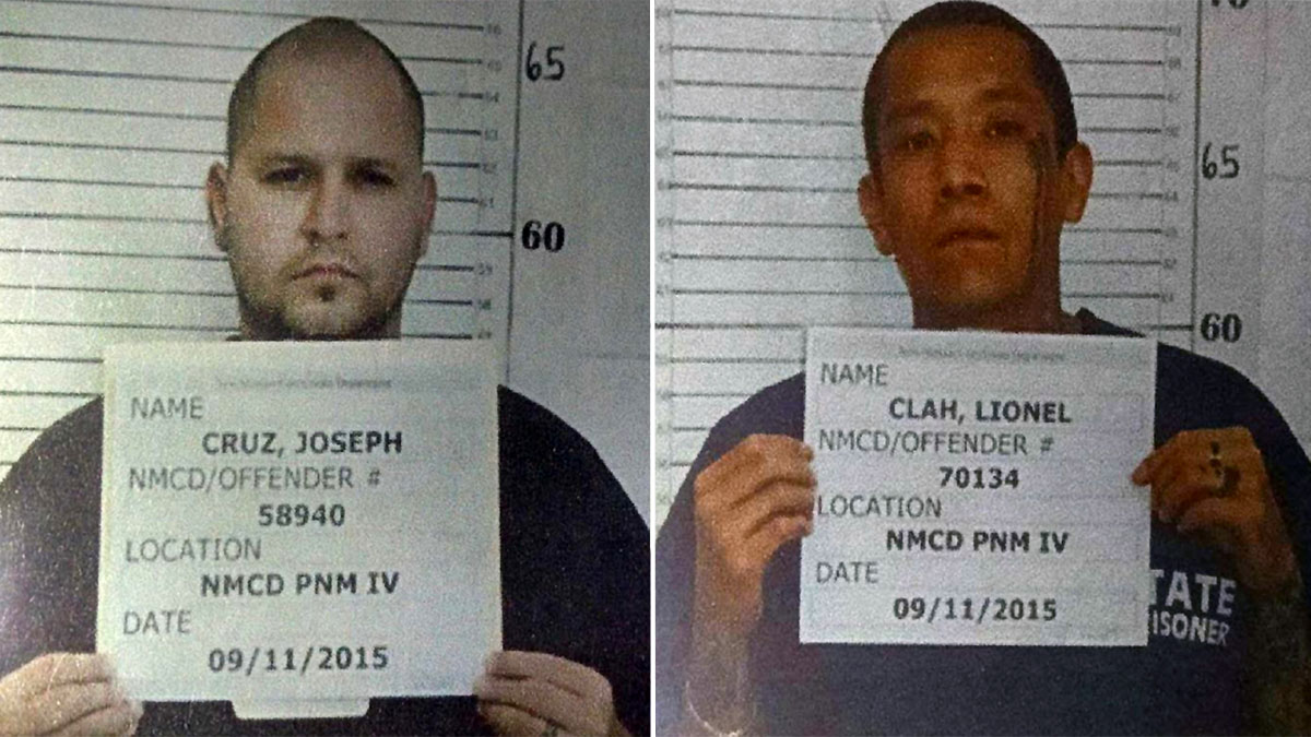 Joseph Cruz (L) and Lionel Clah escaped from a prisoner transport van on Wednesday, March 9, 2016, in the Roswell, New Mexico, area.