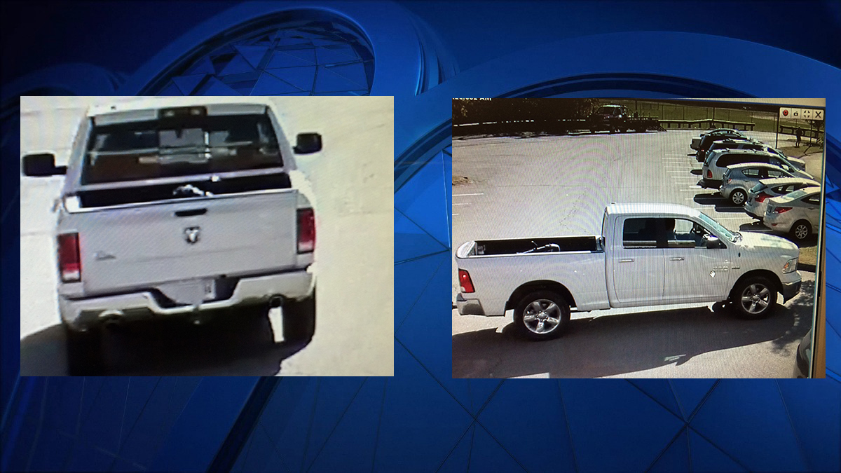 Police said two male suspects riding in the truck pictured above stole a leaf blower out of a Department of Public Works vehicle.