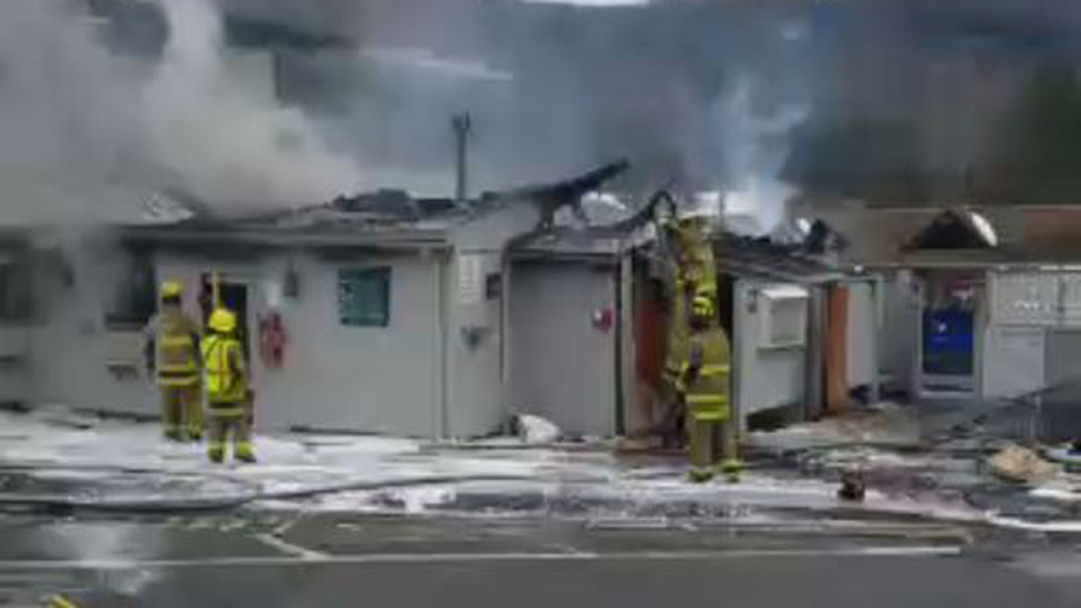 Fire broke out at the main office building at the Lone Oak Campground in East Canaan Sunday.