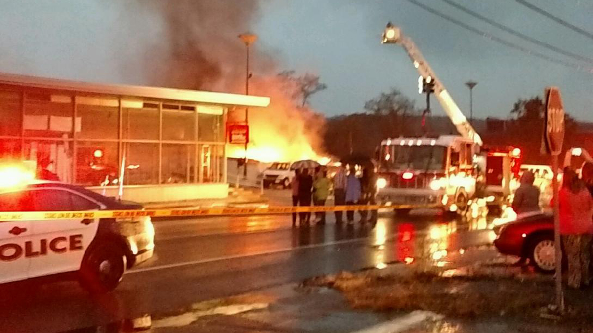 Flames showing from the Kleemann Service Center in Norwich Sunday night.