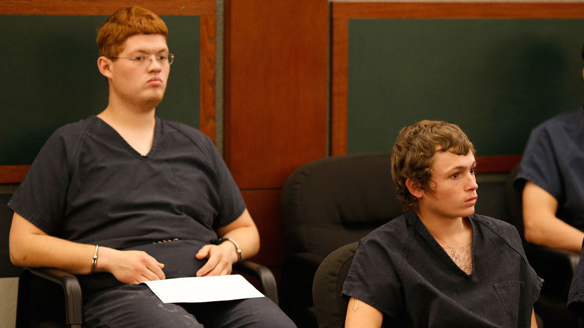 Erich Milton Nowsch Jr., right, and Derrick Andrews appear in court Tuesday, March 31, 2015, in Las Vegas. The two have been charged with the Feb. 12, 2014, fatal shooting of Tammy Meyers, 44, in a Las Vegas neighborhood cul-de-sac.