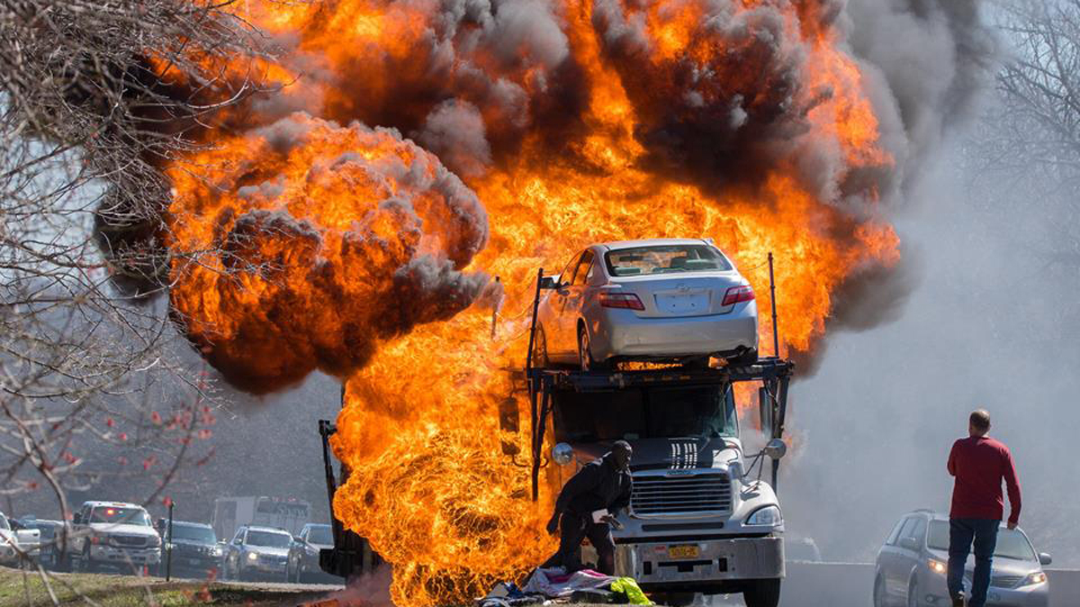 I-95 north in Old Lyme was closed after a car carrier caught fire late Sunday morning.