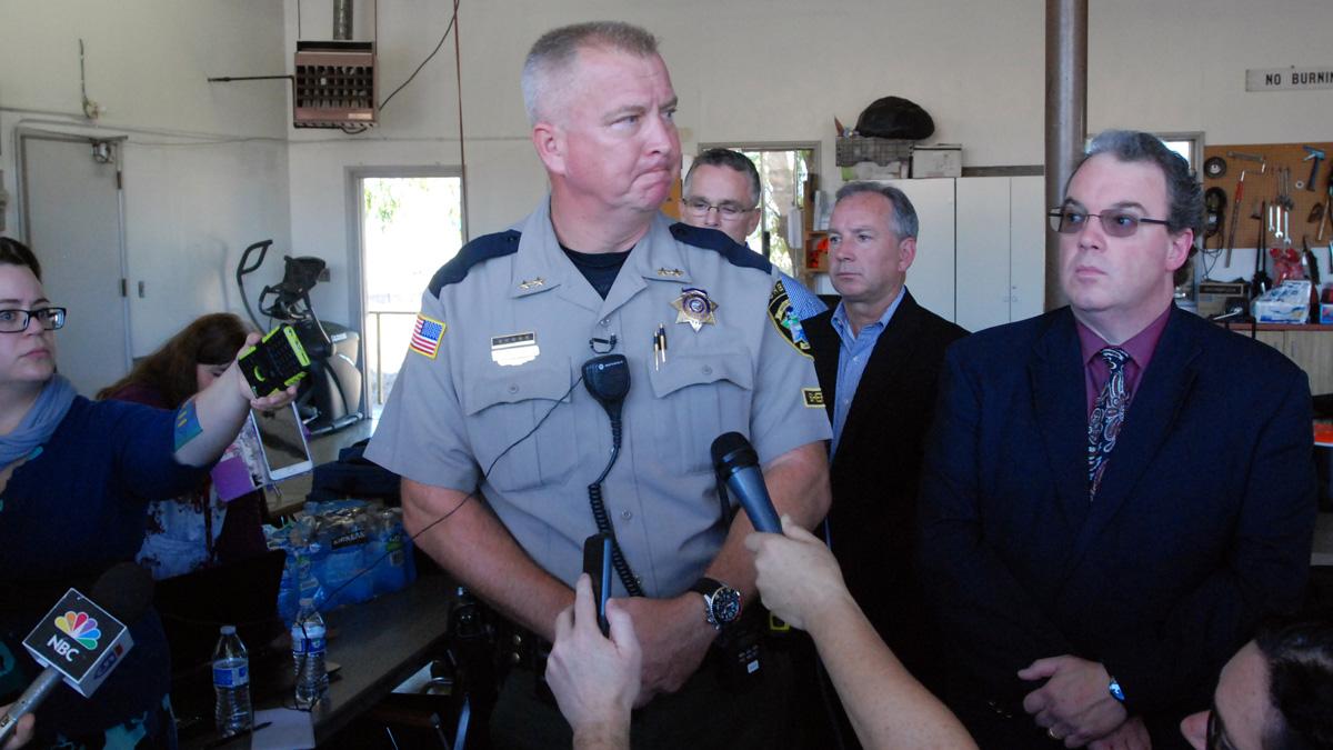 Douglas County Sheriff John Hanlin addresses the media following a deadly shooting at Umpqua Community College in Roseburg, Oregon, Oct. 1, 2015.