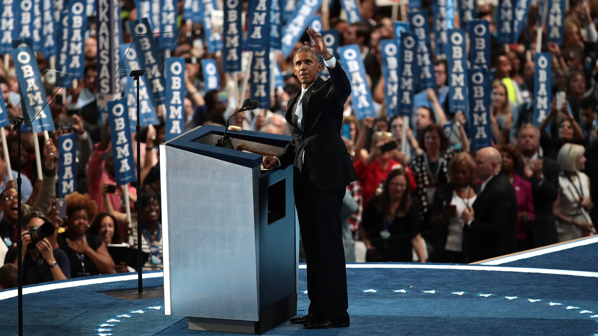 PHILADELPHIA, PA - JULY 27: US President Barack Obama acknowledges the crowd as he arrives on stage to deliver remarks on the third day of the Democratic National Convention at the Wells Fargo Center, July 27, 2016 in Philadelphia, Pennsylvania. Democratic presidential candidate Hillary Clinton received the number of votes needed to secure the party's nomination. An estimated 50,000 people are expected in Philadelphia, including hundreds of protesters and members of the media. The four-day Democratic National Convention kicked off July 25. (Photo by Drew Angerer/Getty Images)