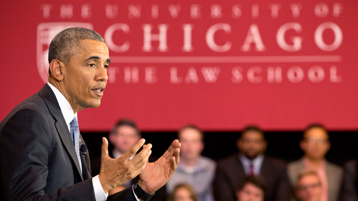 President Barack Obama speaks about his Supreme Court nominee Merrick Garland, on Thursday, April 7, 2016, at the University of Chicago Law School in Chicago.