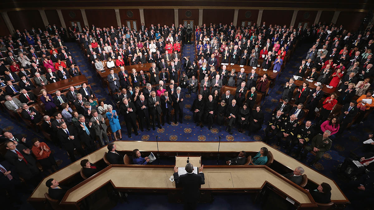 In this file photo, U.S. President Barack Obama delivers his State of the Union speech before a joint session of Congress at the U.S. Capitol February 12, 2013 in Washington, DC.