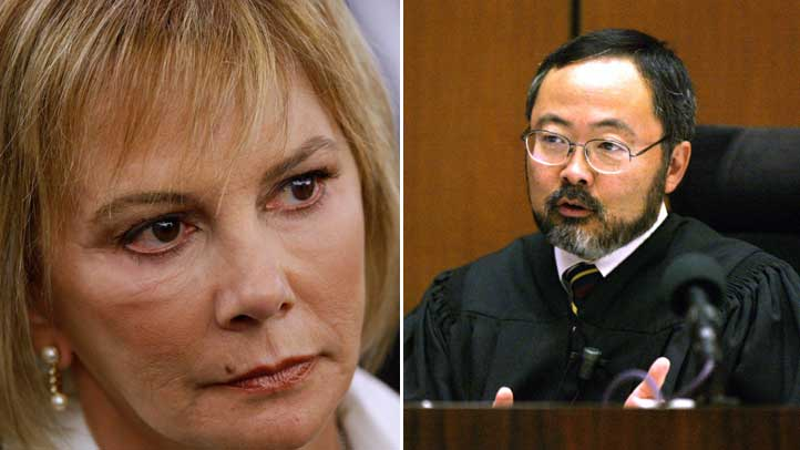On left: Marcia Clark, the lead prosecutor in OJ Simpson's murder case. On right: Trial Judge Lance Ito.