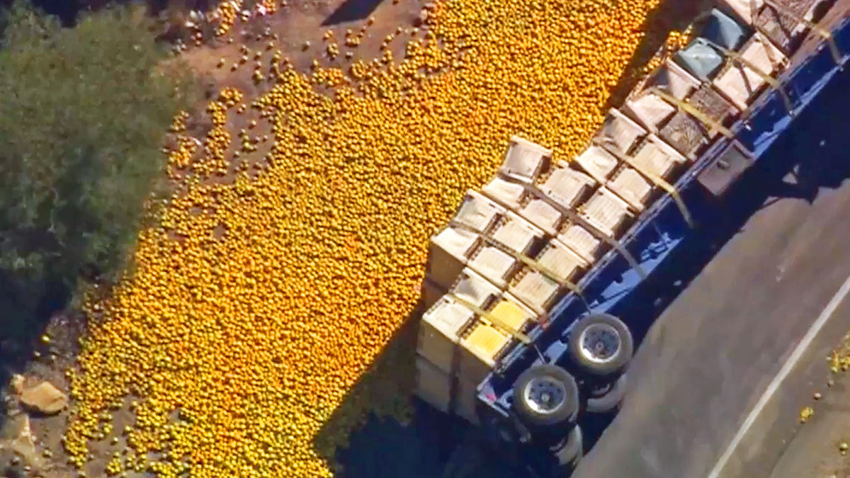 The massive orange spill on a road in Pala on Sept. 9, 2014.