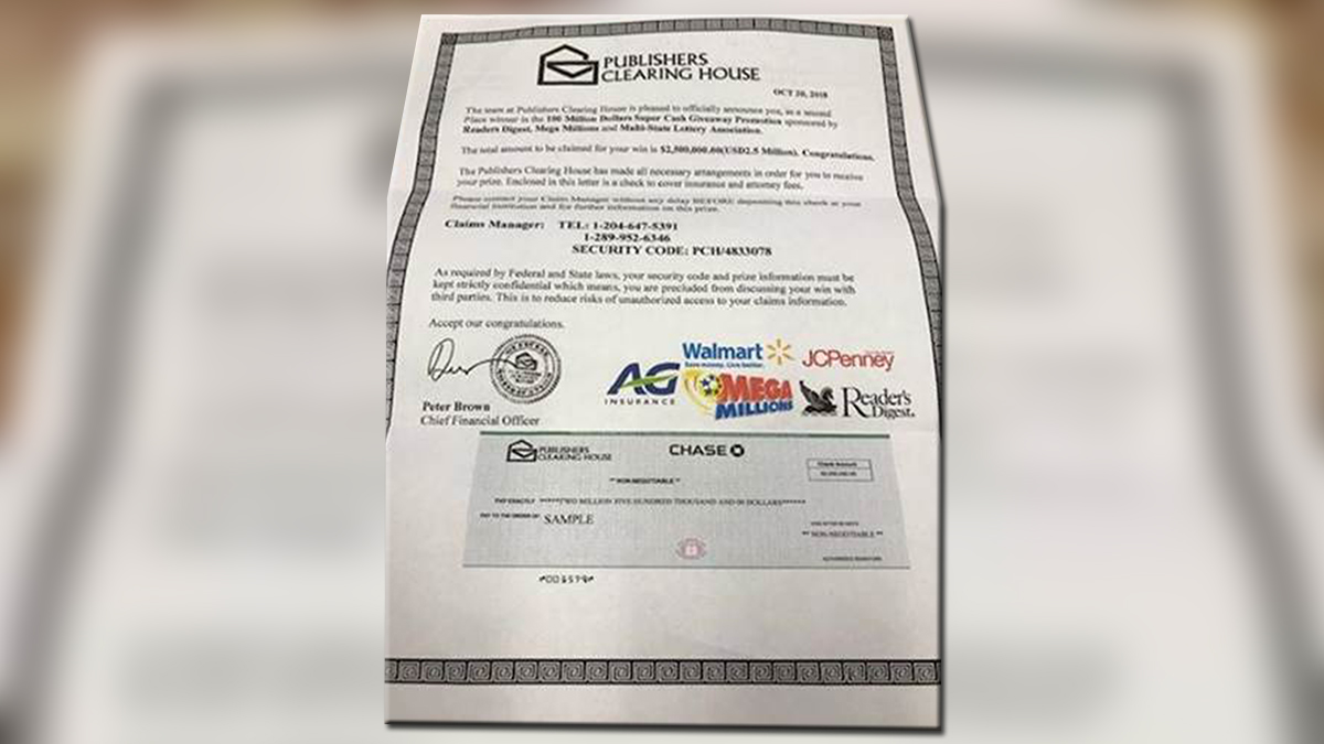 Wolcott Police Warn of Publishers Clearing House Scam