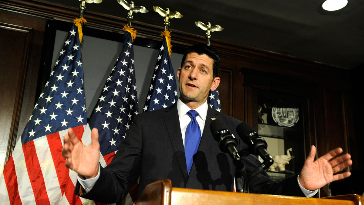US House Speaker Paul Ryan speaks during a news conference at the Republican National Committee headquarters in Washington, DC on April 12, 2016.Republican US House speaker Paul Ryan ruled out a late run for the presidency, squelching speculation that he could be in contention at an eventual contested party nominating convention in July.