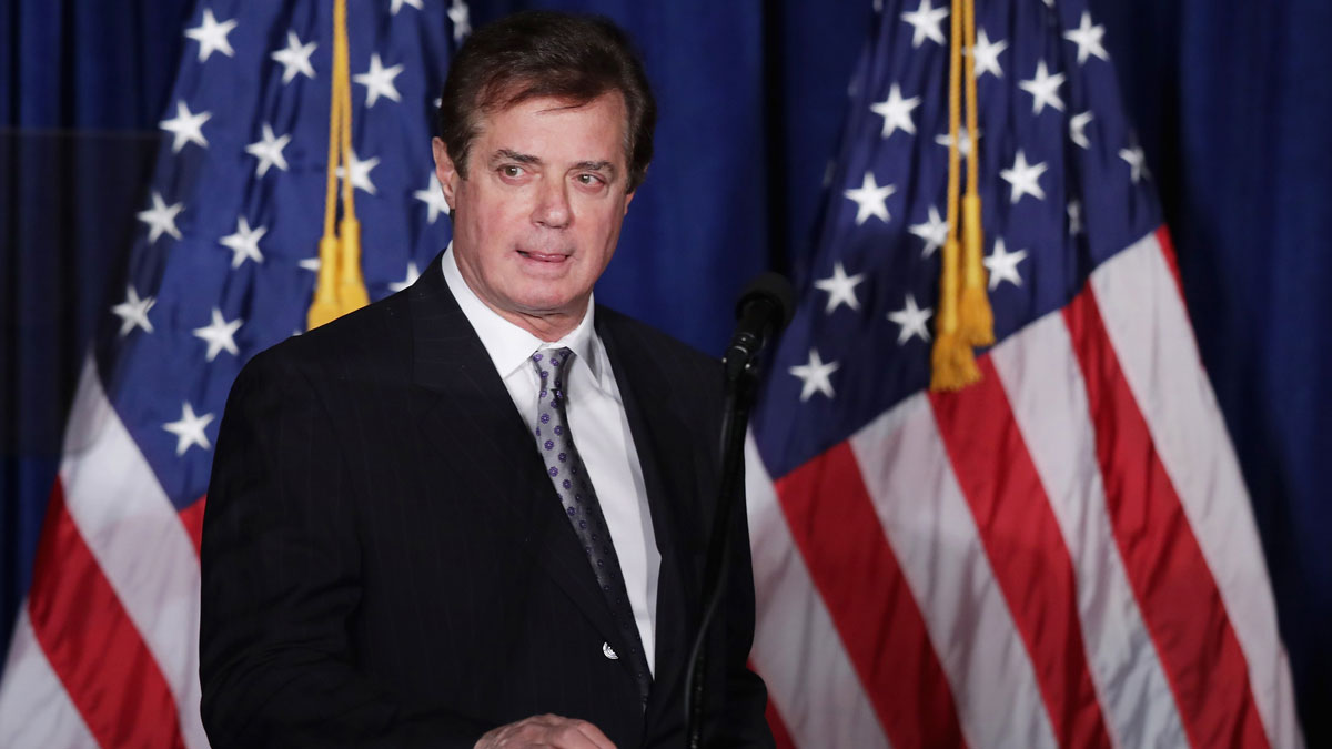 Paul Manafort, advisor to Republican presidential candidate Donald Trump's campaign, checks the teleprompters before Trump's speech at the Mayflower Hotel April 27, 2016 in Washington, DC. The campaign confirmed that Manafort's responsibilities will increase as Trump looks on to the general election.