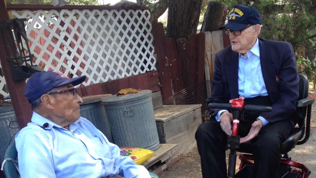 Two of the oldest known survivors of Pearl Harbor, U.S. veterans Ray Chavez, 103, and Jim Downing, 102, reunited in San Diego on July 3, 2015, more than 74 years after serving together.