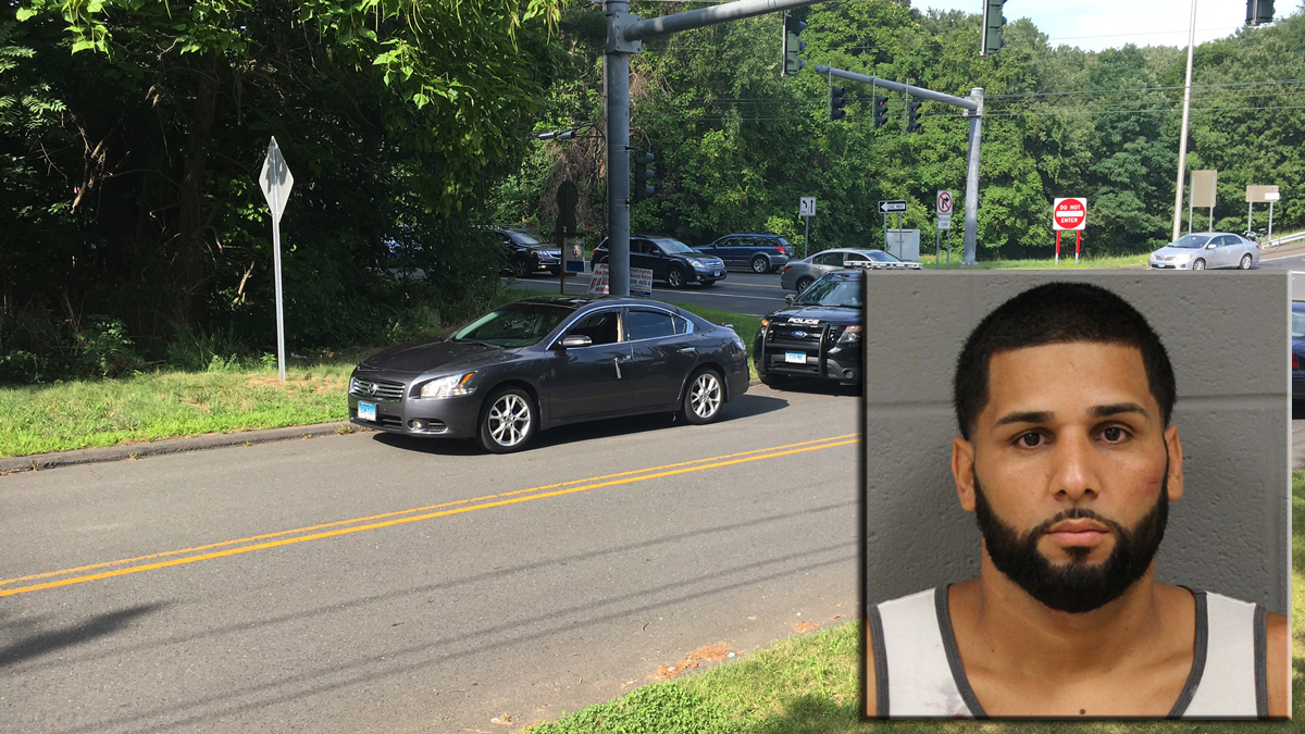 Pedro Maldonado (inset) is accused of dragging a New Britain police officer with his vehicle as he tried to flee the scene of a traffic stop.