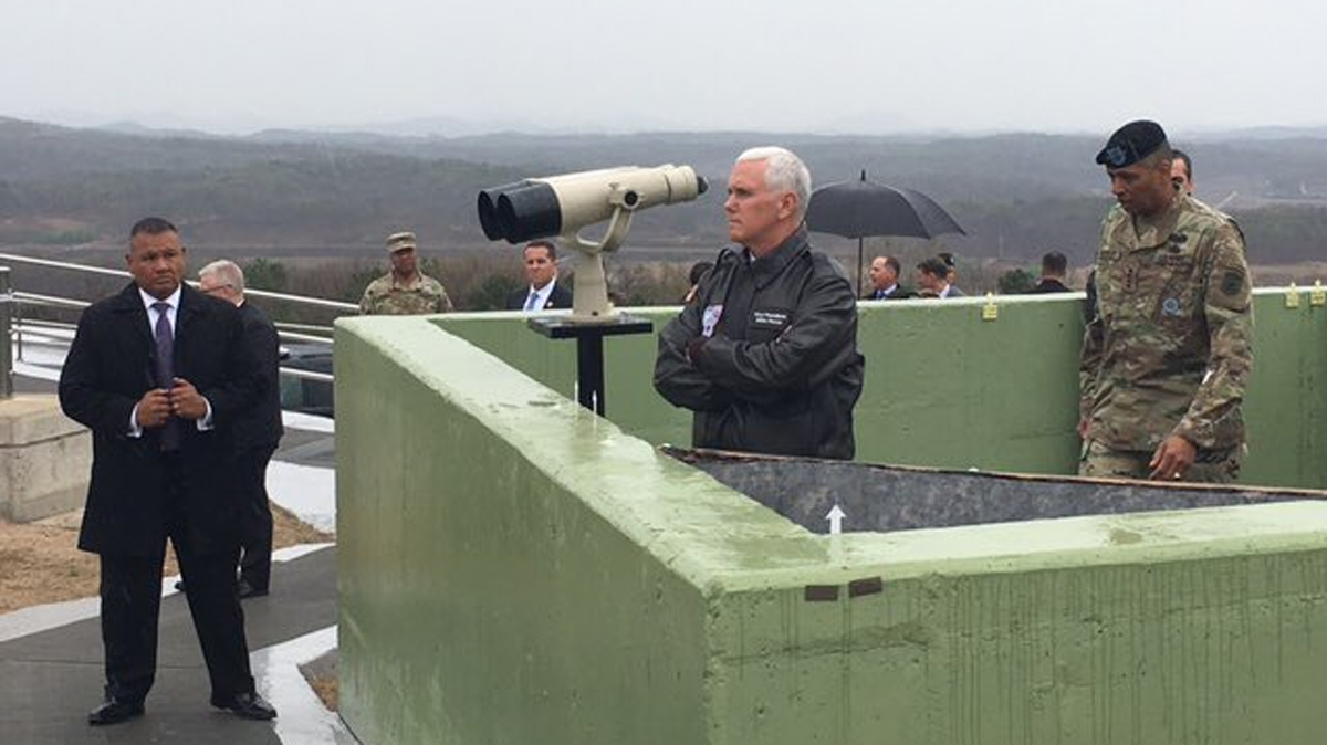 Vice President Mike Pence visited the Demilitarized Zone in Korea on Monday, April 17, 2017, amid rising tensions between the North and South.