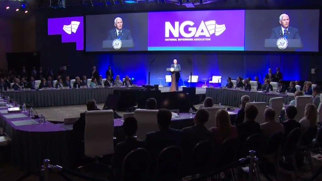 Vice President Mike Pence spoke at the National Governors Conference in Providence, Rhode Island Friday.