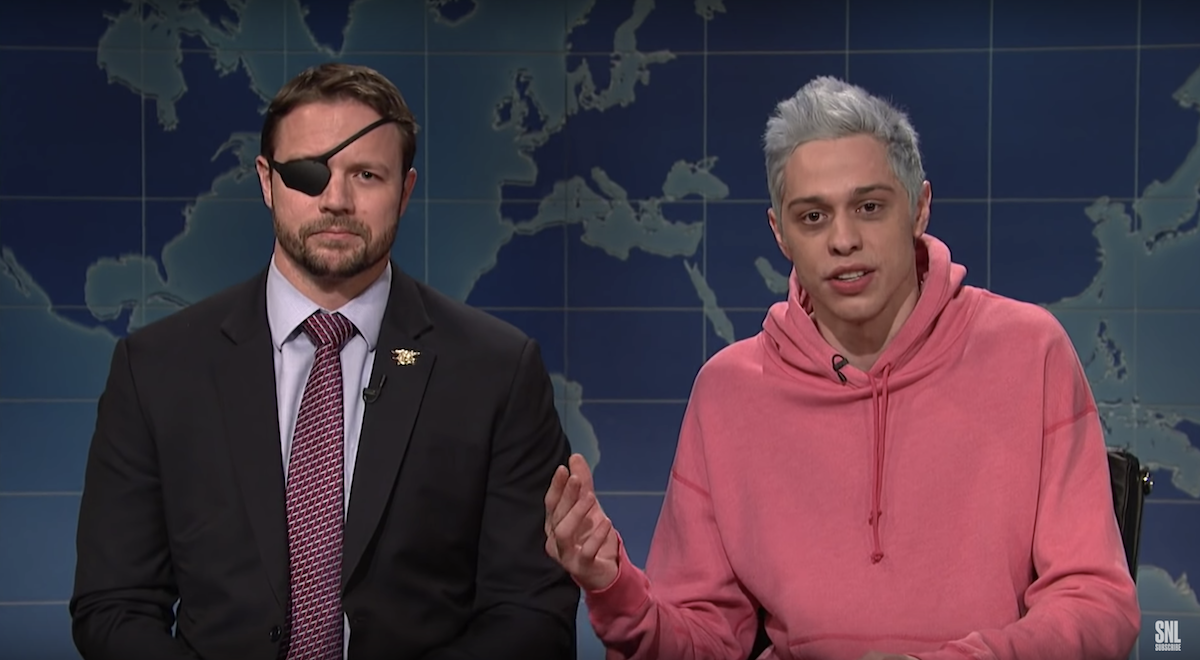 Pete Davidson appears on 'Saturday Night Live' with Lt. Commander Dan Crenshaw, a congressman-elect from Texas, November 10, 2018.