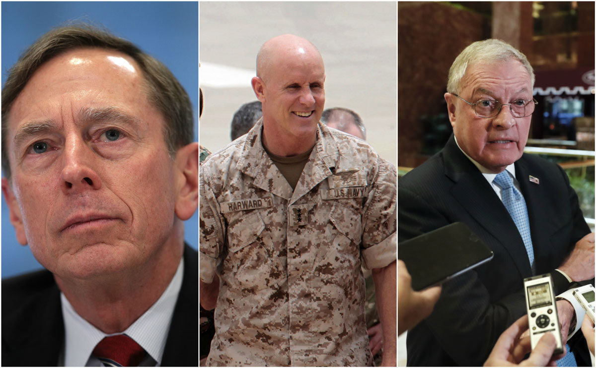 Former CIA Director David Petreaeus, retired Vice Adm. Robert Harward, and retired Lt. Gen. Keith Kellogg, (left to right) are potential picks for national security adviser, following the resignation of Mike Flynn tendered Monday, Feb. 13.