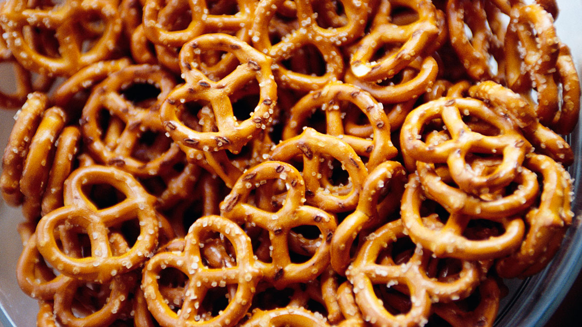A bowl of pretzels is pictured in this file photo.