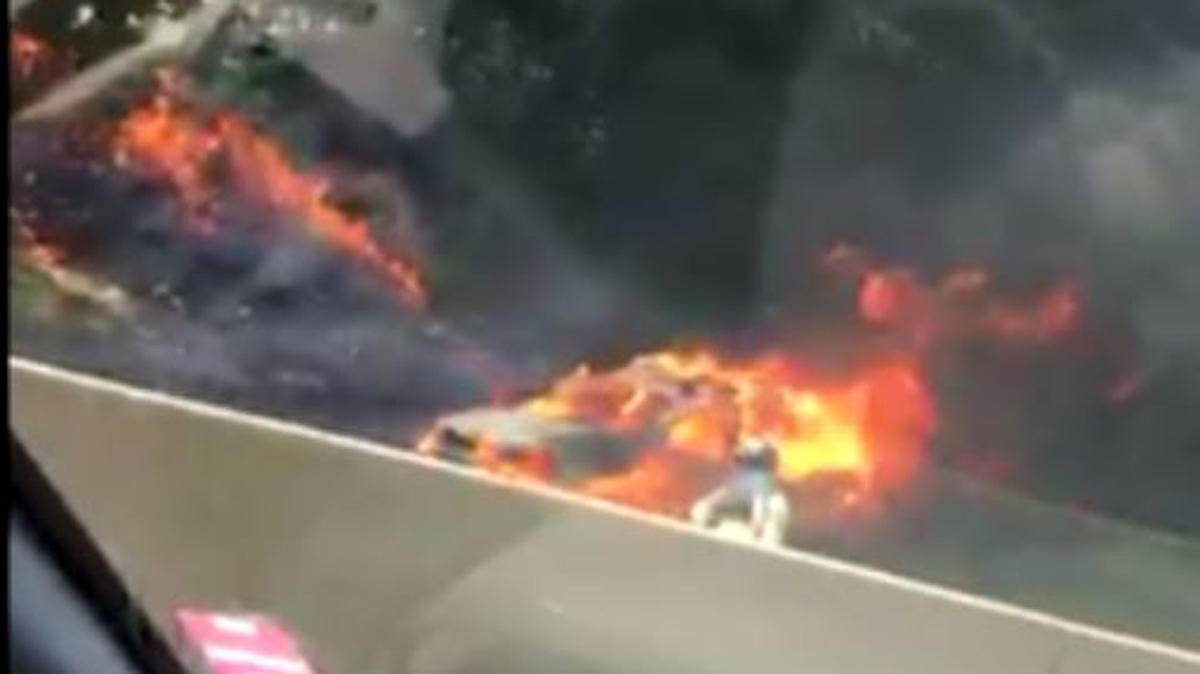A car fire shut down part of Route 15 south in Hamden near exit 60 Sunday afternoon.