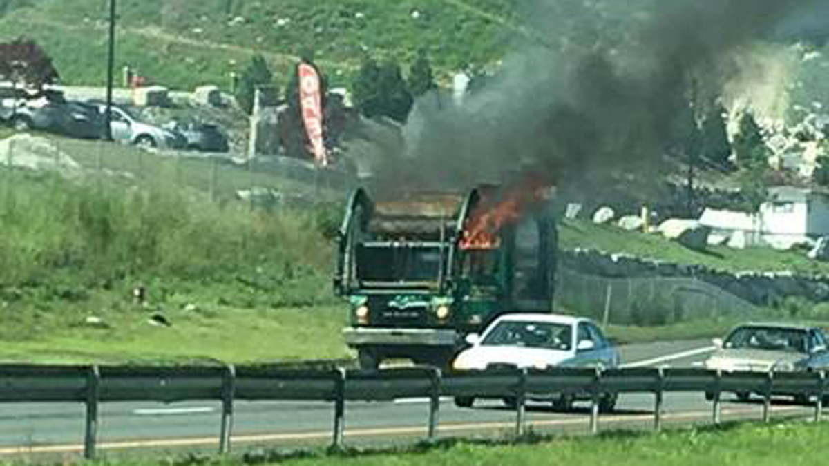 A truck fire on Route 8 southbound in Seymour Wednesday afternoon.