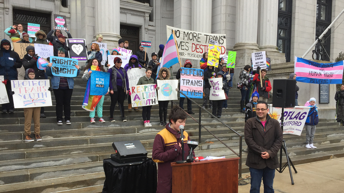 A student speaks at a rally in support of transgender youth outside the Connecticut Supreme Court in Hartford Saturday.