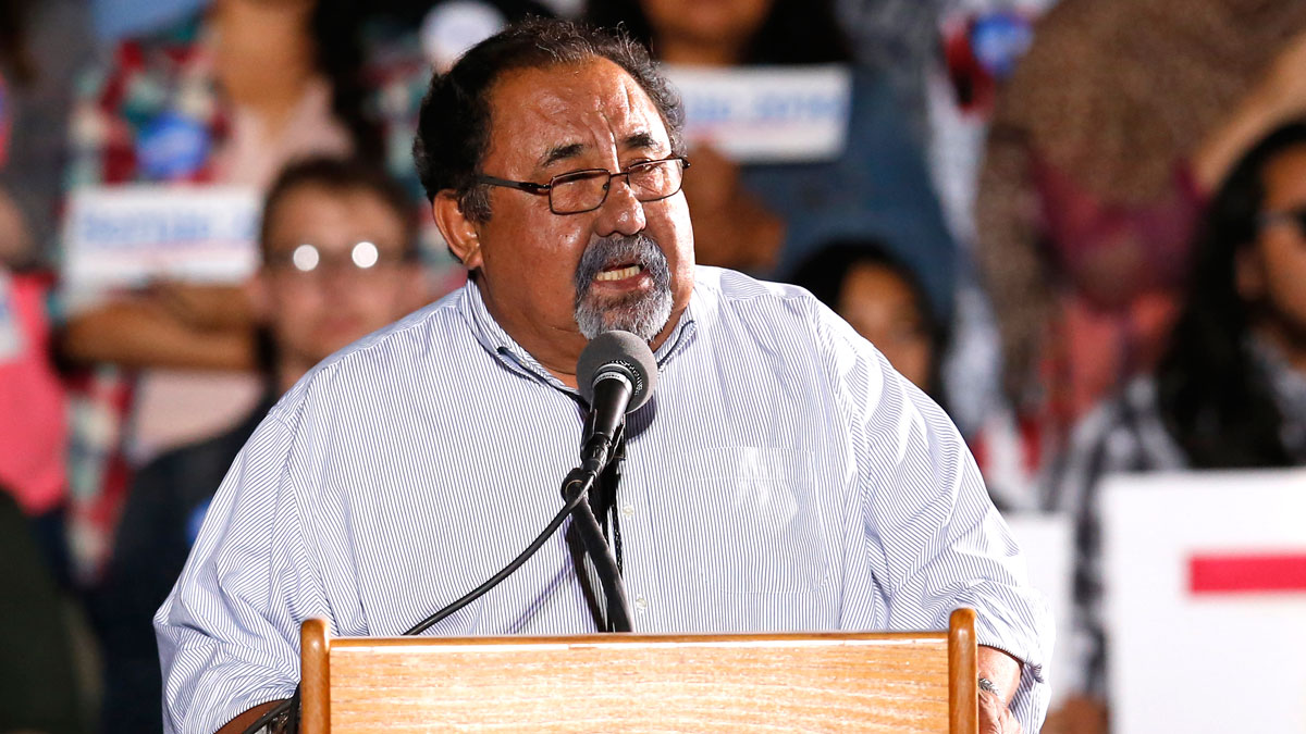 Rep. Raúl Grijalva, D-Ariz., speaks during a campaign event for Democratic presidential candidate Bernie Sanders on Friday, Oct. 9, 2015, in Tucson, Ariz.