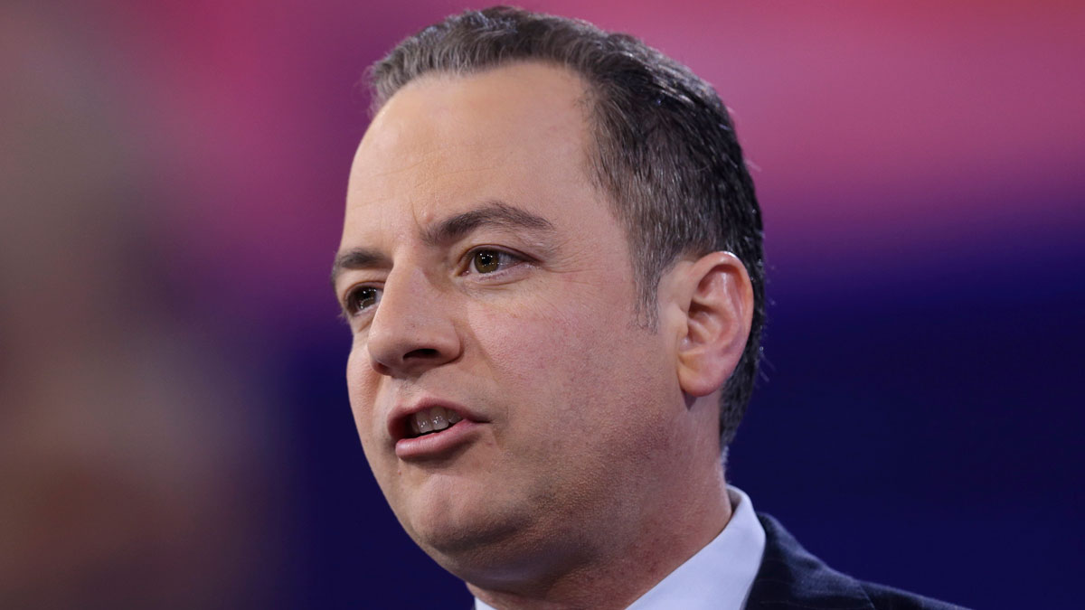 In this photo taken March 4, 2016, Republican National Committee (RNC) Chairman Reince Priebus speaks in National Harbor, Md. Priebus defended Donald Trump on morning shows Sunday, saying voters don't care about his controversies.