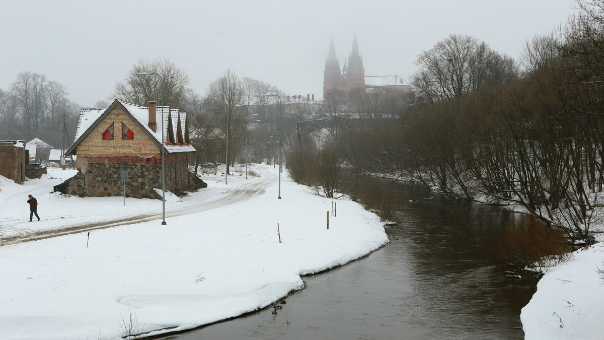 A view on the river and a church in Rezekne, Latvia, on March 9, 2017. In interviews with NBC News. residents in Rezekne expressed mixed views on President Donald Trump's stance on NATO and the potential threat of Russia.