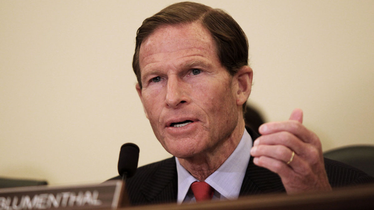 Sen. Richard Blumenthal, a Democrat from Connecticut, questions witnesses on Capitol Hill in Washington, Wednesday, July 15, 2015, during a Senate subcommittee on Consumer Protection, Product Safety, Insurance, and Data Security hearing entitled: