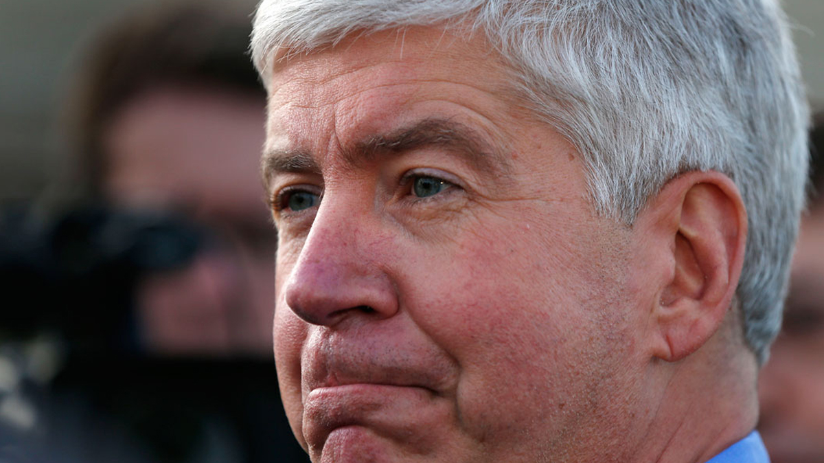 Gov. Rick Snyder speaks to the media Nov. 16, 2015 in Northville Township, Michigan.