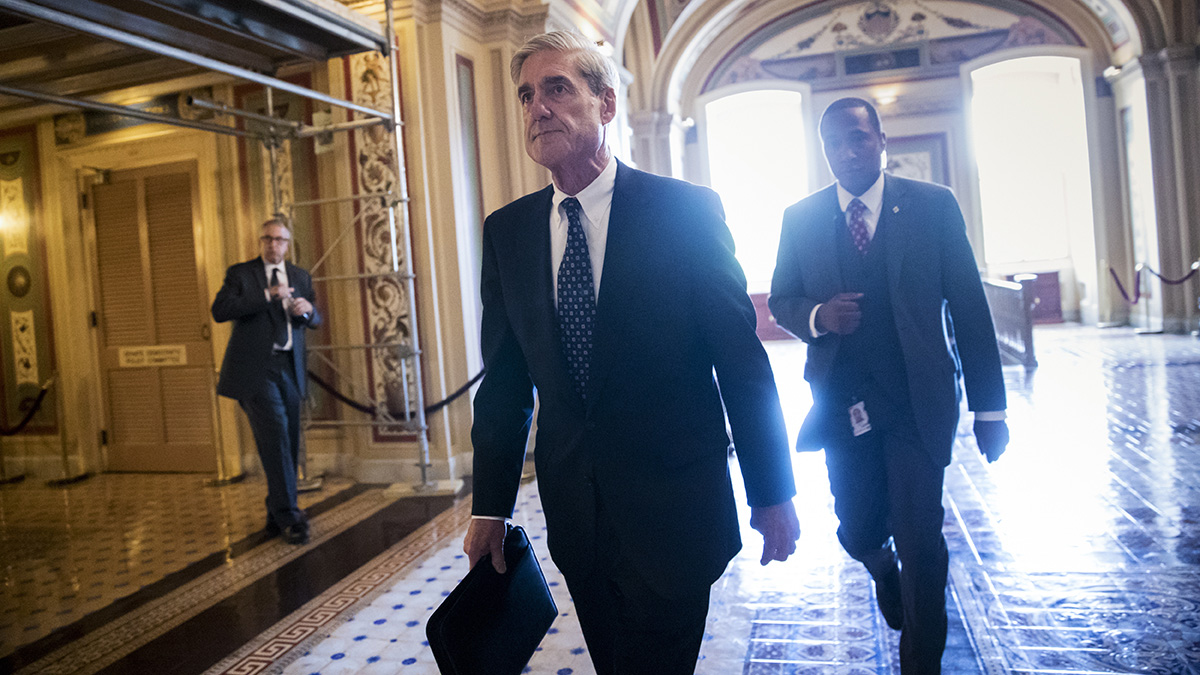 FILE - FBI special counsel Robert Mueller leaves the U.S. Capitol after a closed-door meeting with members of the Senate Judiciary Committee about Russian interference in the 2016 presidential election and possible connection to the Trump campaign, June 21, 2017, in Washington.