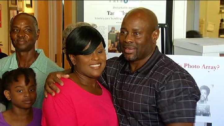 Rodell Sanders greets his family after he was released from prison after 20 years.