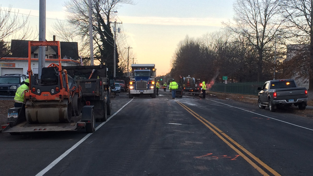 A water main break closed Middletown Avenue in North Haven on Wednesday morning.