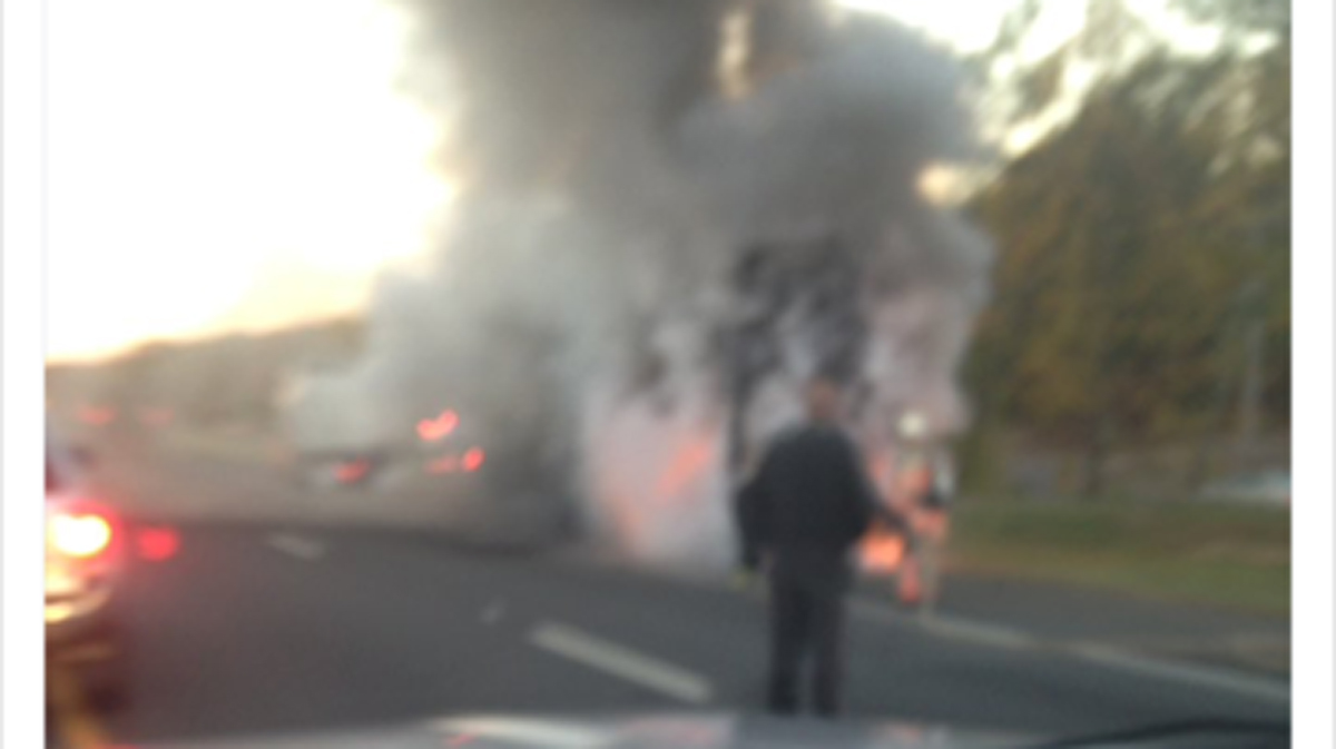 A car fire is causing traffic delays on Route 8 south near the Bridgeport/Trumbull line.