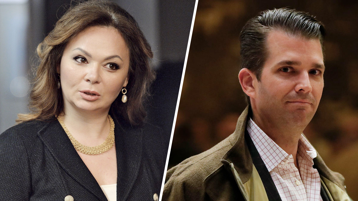 Russian lawyer Natalia Veselnitskaya in Moscow on Nov. 8, 2016, left, and Donald Trump Jr. at Trump Tower in New York City on Nov. 16, 2016.