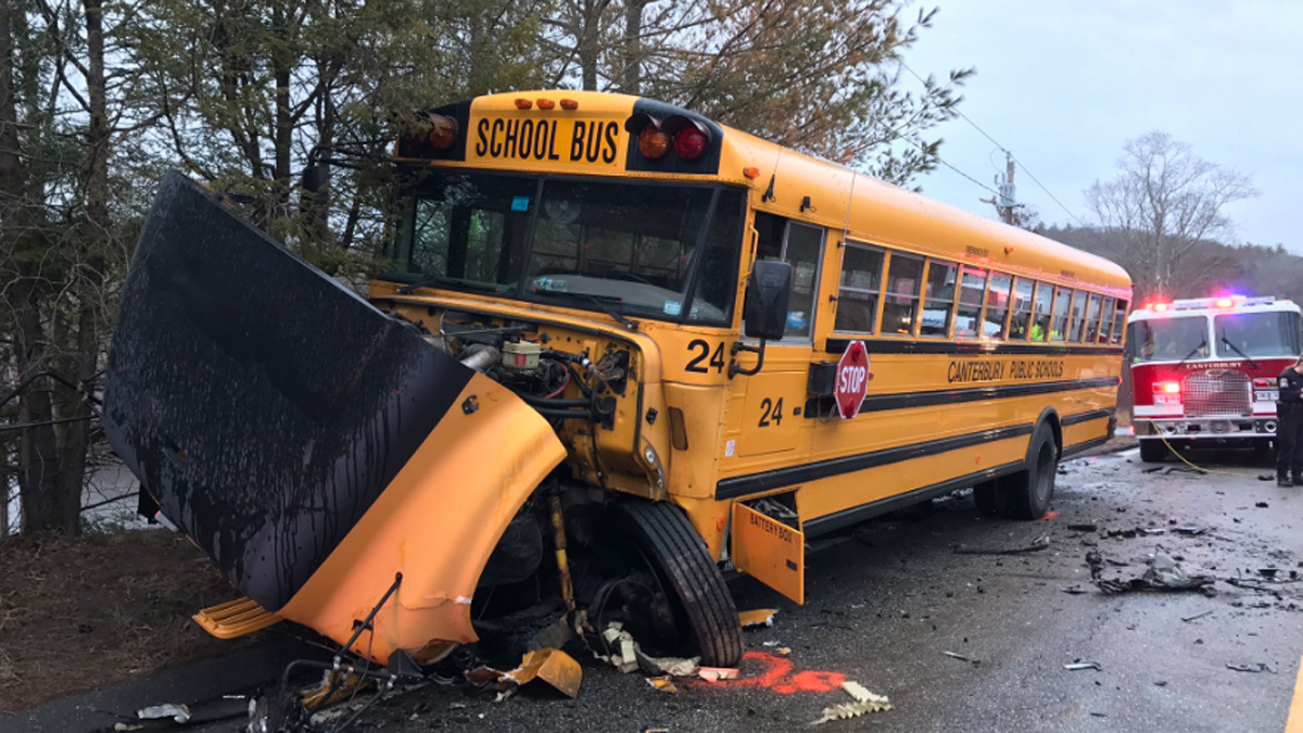 A car collided head-on with a school bus Tuesday morning on Route 169 in Canterbury