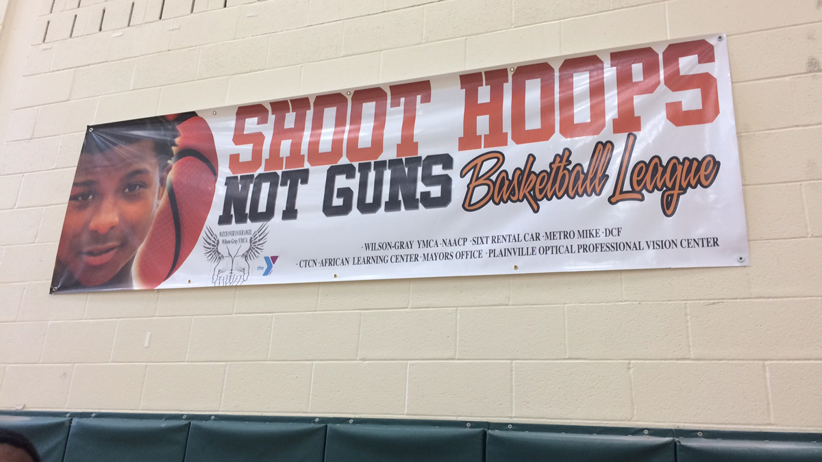 """""""Shoot Hoops Not Guns"""" is a basketball league in honor of 15-year-old Keon Huff, Jr., who was killed in a shooting in March 2017."""