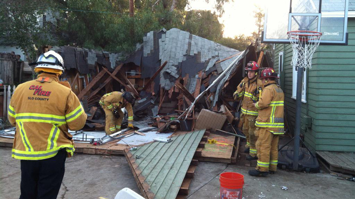 Fire officials tweeted this picture of a roof that collapsed at a party near California Polytechnic State University in San Luis Obispo on Saturday, March 7, 2015.