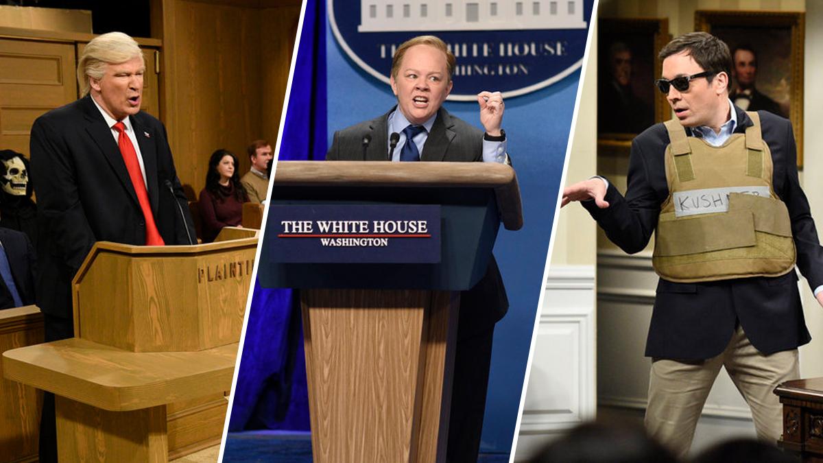 Alec Baldwin as Donald Trump, left; Melissa McCarthy as Sean Spicer, center; Jimmy Fallon as Jared Kushner, right.