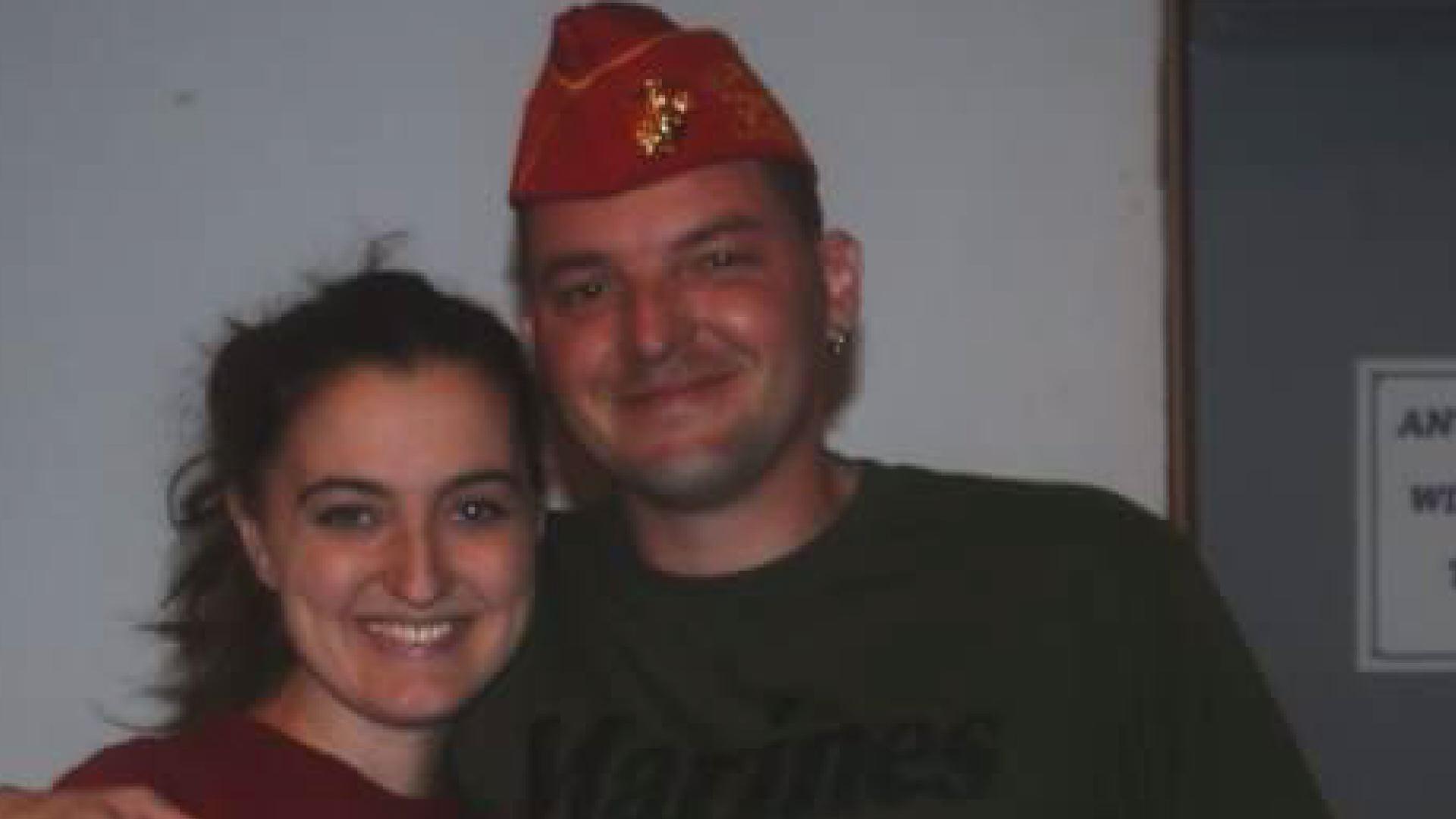 Joanna Eldridge is pictured here with her late husband, Marine Justin Eldridge.