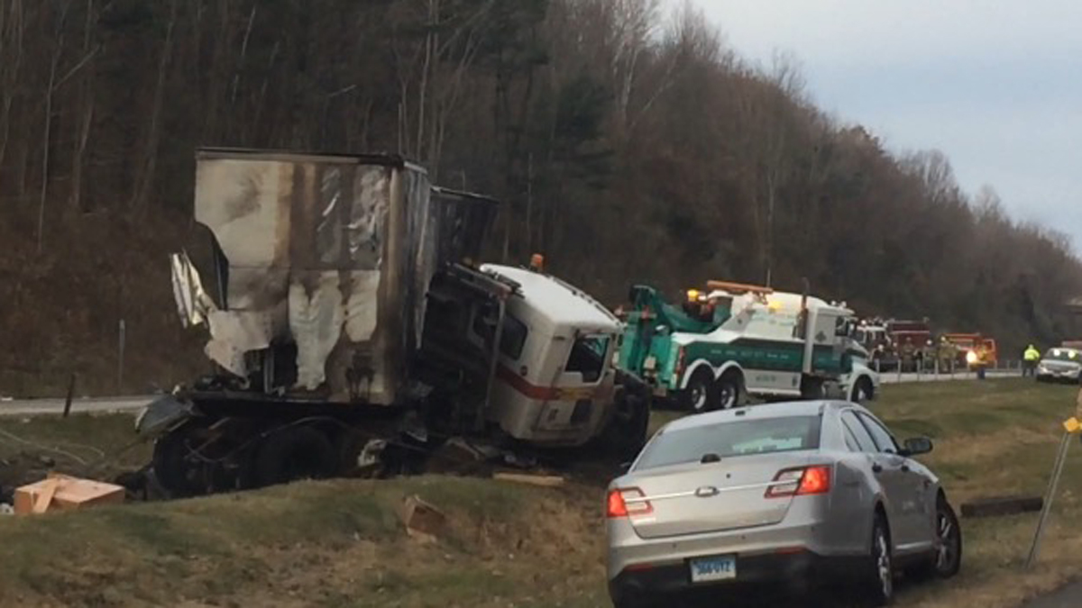I-84 eastbound was closed at the Southbury-Middlebury line Saturday morning due to a double tractor-trailer crash.