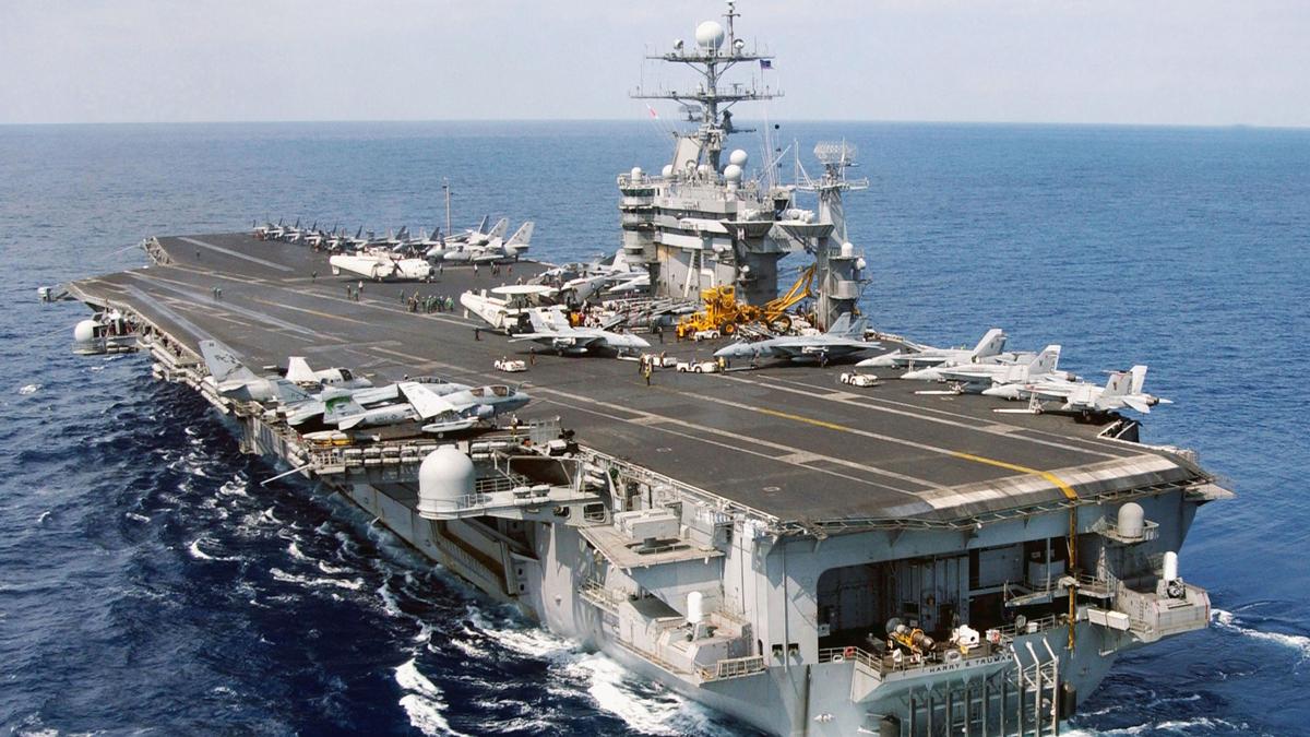 Aircraft Carrier U.S.S. Harry S. Truman steams underway in the Eastern Mediterranean Sea.