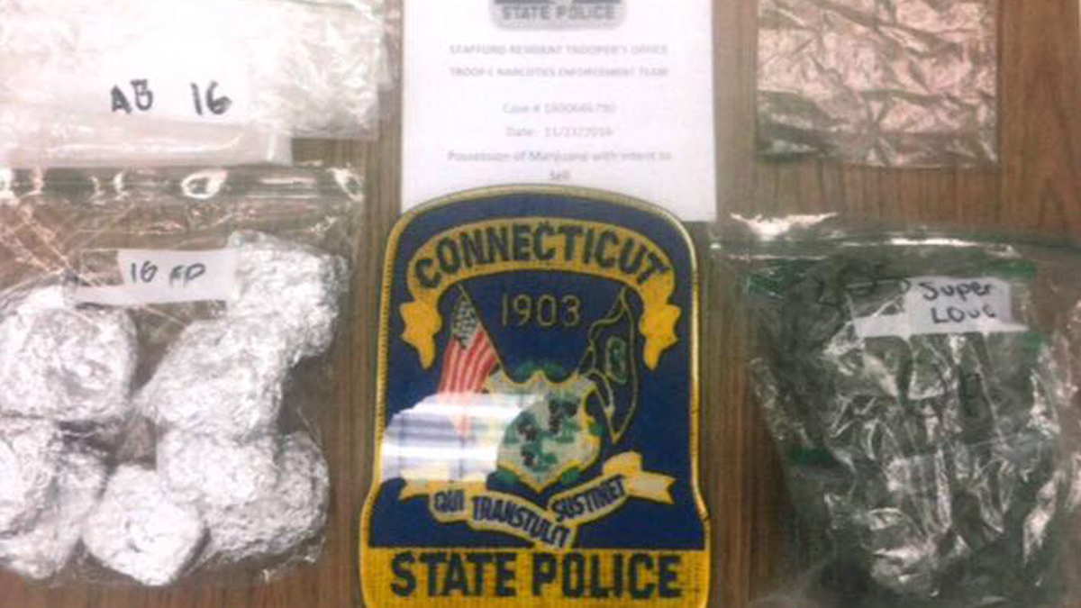 Connecticut State police said they seized 5.6 ounces of suspected marijuana packaged for sale, 10 THC-laced rice crispy treats, and $4,000 in cash during a traffic stop in Stafford.