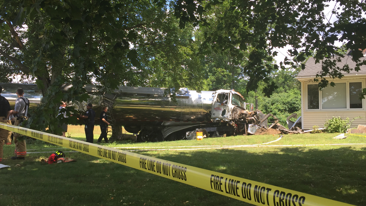 A tanker truck struck the house at 916 Mountain Road in Suffield Sunday morning.