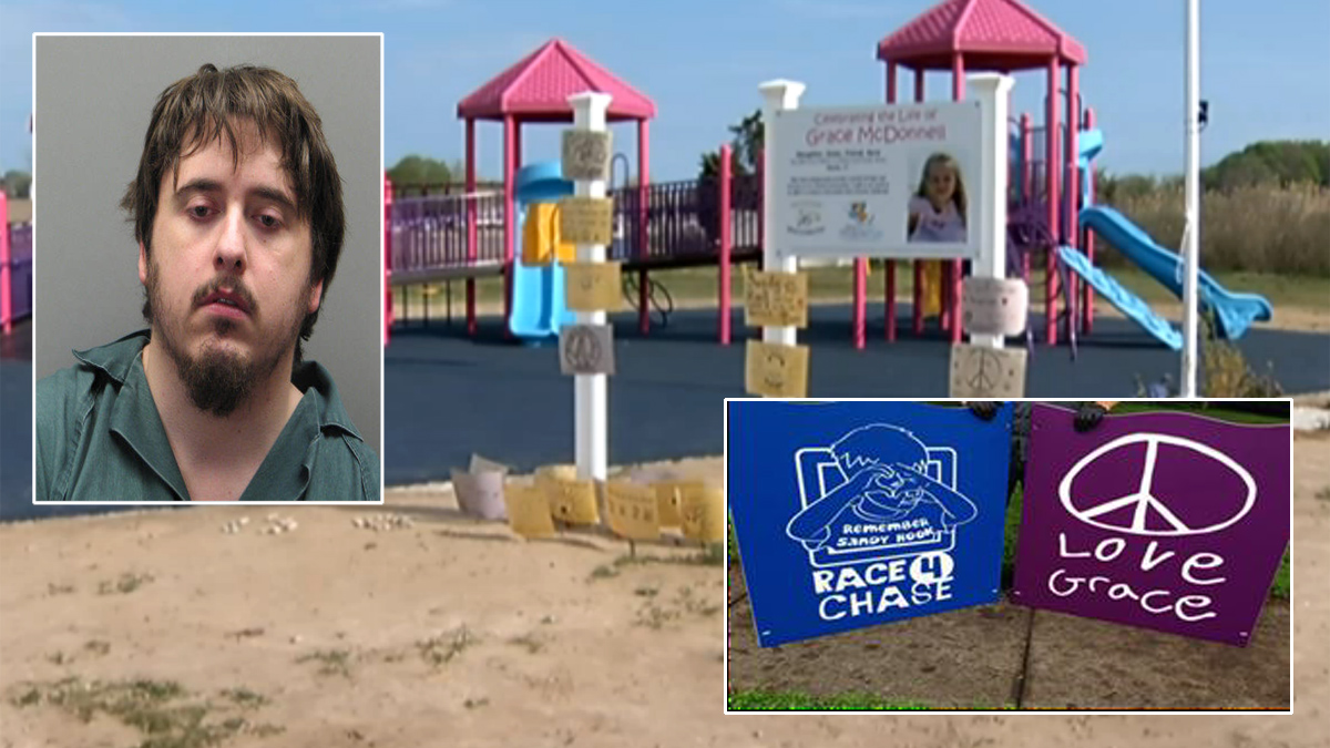 Andrew Truelove (inset, left) is accused of stealing signs from playgrounds dedicated to Sandy Hook victims in Mystic and in New Jersey.