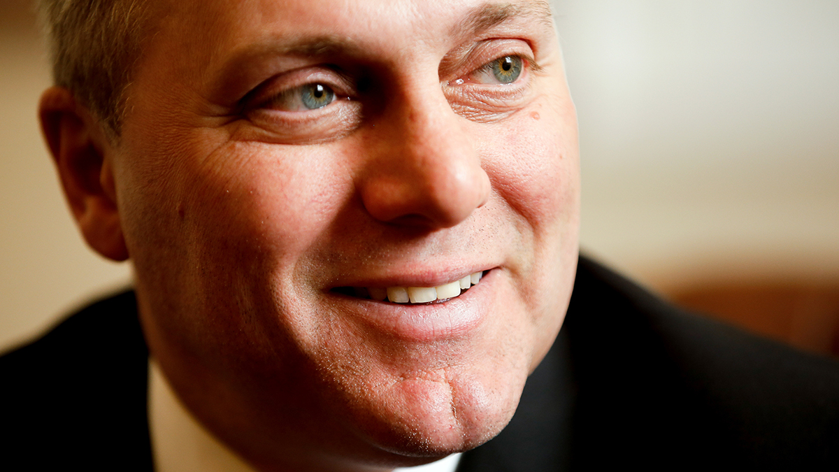 House GOP Whip Steve Scalise, R-La. speaks during an interview with The Associated Press in his office at the U.S. Capitol, on Tuesday, March 24, 2015 in Washington.