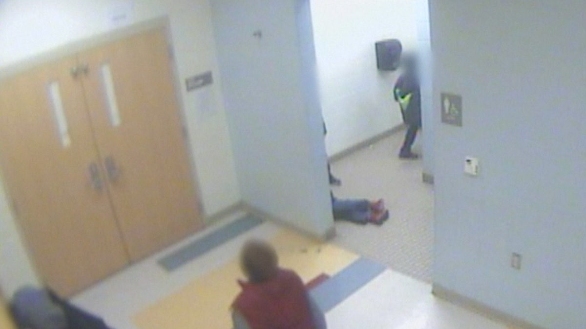 A screenshot of the surveillance video of the 8-year-old boy who allegedly committed suicide after being bullied at school in Cincinnati, Ohio.